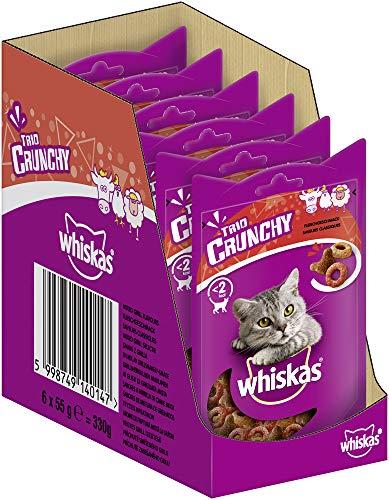 Whiskas Katzensnack Trio Crunchy Treats mit Fleischgeschmack (Rind, Huhn, Lamm), 6 Packungen (6 x 55 g)