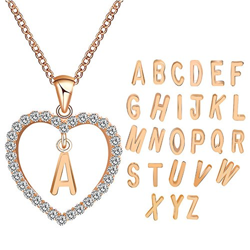 Godagoda Unisex halsketting verguld roze 26 letters hart vorm sieraden hanger ketting geschenken