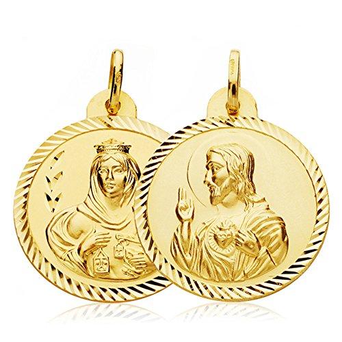 Escapulario Virgen Carmen y Corazón de Jesús Medalla Oro 18k hélice 24 mm