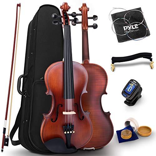 Pyle Full Size Beginner Violin - 4/4 23-Inch Student Full Size Violin Starter Kit Adult w/ Premium Travel Case & Student Bow, Extra Strings, Digital Tuner, Shoulder Rest & Cleaning Cloth - PGVILN20