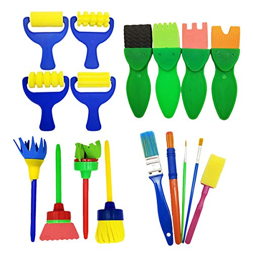 17 Pcs Sponge Painting Brushes kit Kids Craft Brushes Sets for Kids Painting Learning Art Creation(Assorted Sizes)