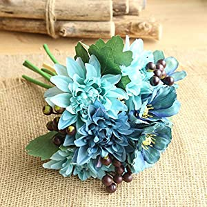 Artificial and Dried Flower Artificial Silk Fake Flowers Dahlia Cosmos Flowers Berries Bouquet for Home Wedding Bouquet Party Gift Decorationkwiaty Sztuczne