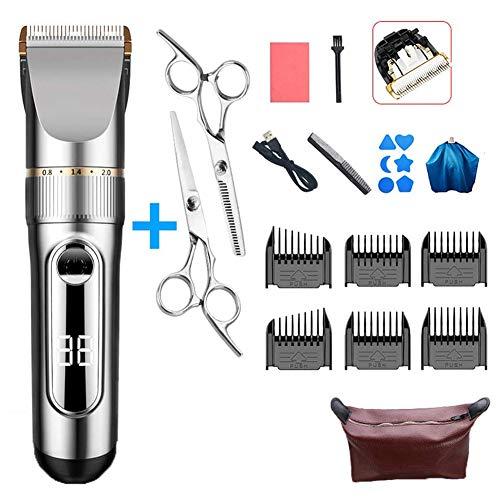 Professional Hair Clippers portable Waterproof draadloze oplaadbare Led Display met 6 Guide Combs twee standen zijn geschikt voor volwassenen en kinderen,Silver