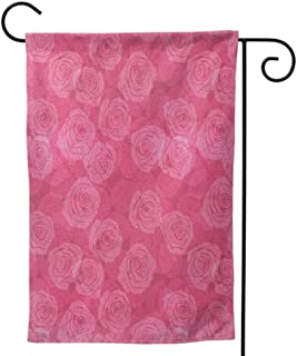 Small Holiday Yard Flags , Home Outdoor Decorative Print Both Sides for All Seasons & Holidays Rose Rustic Pattern with Floral Stems Old Fashion Design Classical Feminine Dark Coral Pale Yellow Tan