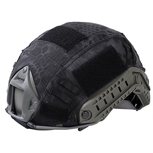 Leagway Tactical Military Combat Helmet Cover for Ops-Core Fast Ballistic Helmet, Airsoft Paintball Hunting Shooting Gear Fast Helmet Cover (Black Python)