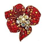 Acosta-Brooches Siam & cristallo Swarovski Aura Borealis, con fiori esotici Pendant-ShalinIndia-Spilla, confezione regalo