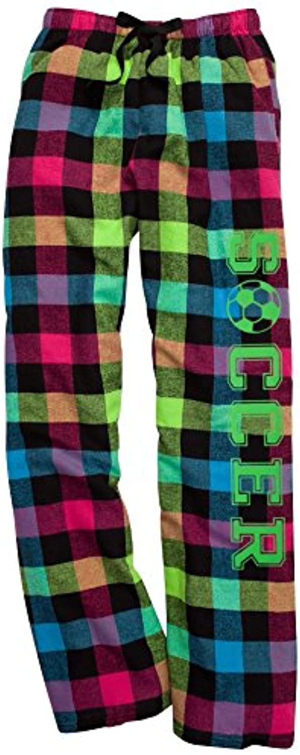 Soccer Neon Plaid Lounge Flannel Pant with Pockets
