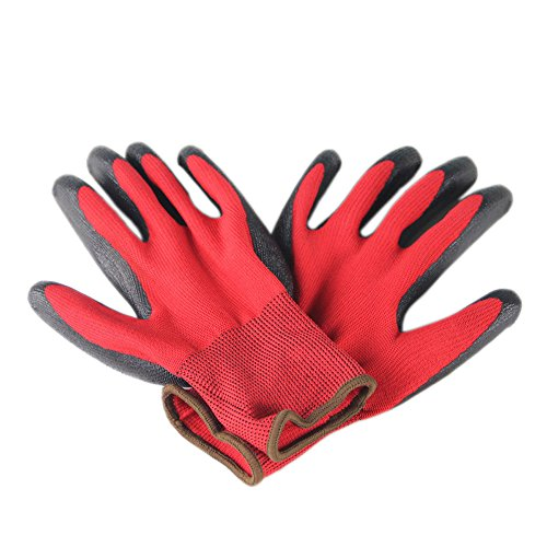 Ruri's Safe Touch Small Animal Handling Rabbies Gloves with Coating for Bird Hedgehog and Hamster Free Size (Red)