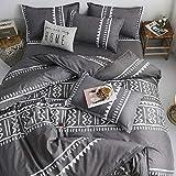 AShanlan Biancheria da letto a righe 200 x 200 cm, colore grigio e bianco, 3 pezzi, in microfibra, motivo geometrico, con chiusura lampo, 80 x 80 cm