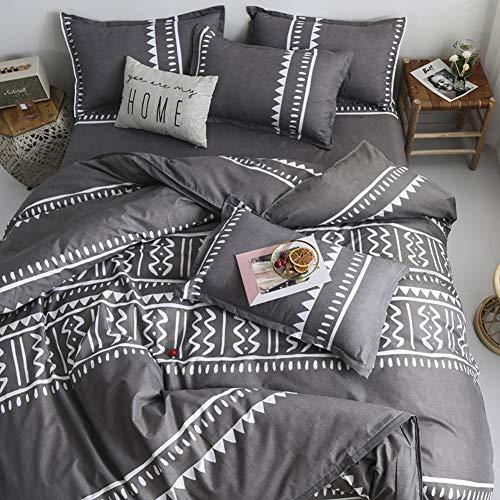 AShanlan Juego de ropa de cama con diseño geométrico moderno, reversible, 100% microfibra, con cierre de cremallera