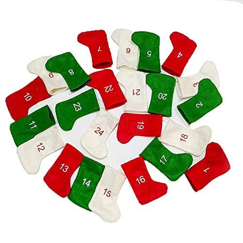 NLRHH Weihnachtsstrümpfe Weihnachten ons 24 Socken Weihnachtszweig Countdown Kalender Geschenk Tasche Anhänger Candy Socken DIY Peng