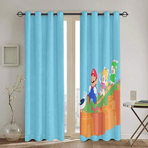 Cortinas opacas para dormitorio Super Mario Odyssey cortinas para habitación de niñas, juego de cortinas de 42 x 54 pulgadas