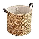 ECSWP Woven Cestino di Lavanderia di immagazzinaggio dei Vestiti Carrello di Paglia a Mano Lavanderia del Cestino di immagazzinaggio Secchio Portabiancheria Pannolino Basket (Size : 33 * 25cm)
