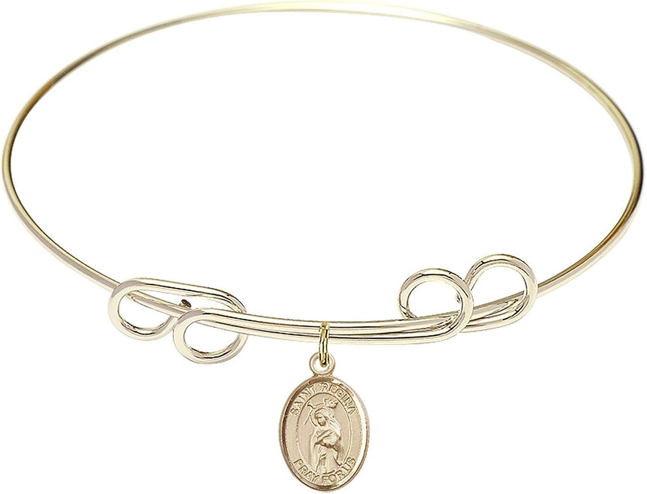 DiamondJewelryNY Double Loop Bangle Bracelet with a St. Regina Charm.