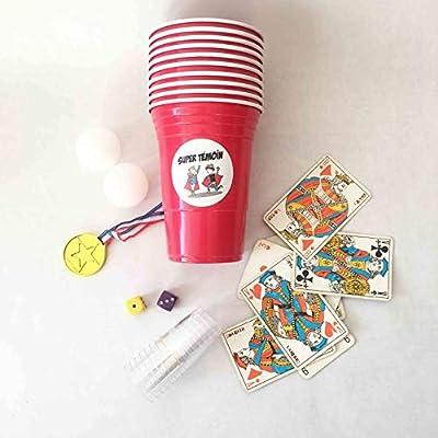 Super Témoin Kit Jeux d'alcool - Bière Pong, Jeux de Cartes, dés, Shooter - EVG / EVJF