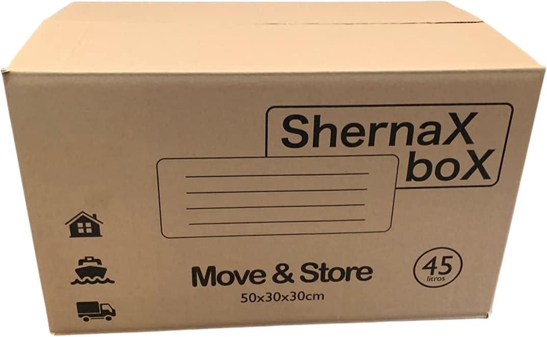 Shernax Box Pack 10 cajas con asas 500x300x300 de cartón ultraresistente para almacenaje mudanza transporte