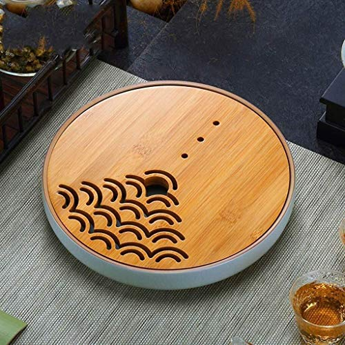 Tangrong Tea Set, Household Mini Ronde Ceramic + Bamboo thee dienblad, Simple Japanse Gongfu thee lade, Lade Soort Huishoudelijke Drain Dienblad, zwart, wit, 9,1 * 1.9in (Size : White)