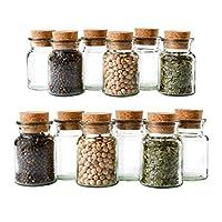 Gewürzgläser (12x 150ml) - Wiederverwendbare Glasdose mit Korkverschluss für die Aufbewahrung von Tee, Kräutern und Gewürzen