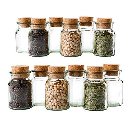 Mambocat Lot de 12 pots à épices réutilisables en verre, capacité : 150 ml, verres ronds avec bouchon en liège, haute qualité, pour conserver les épices, le thé, les herbes