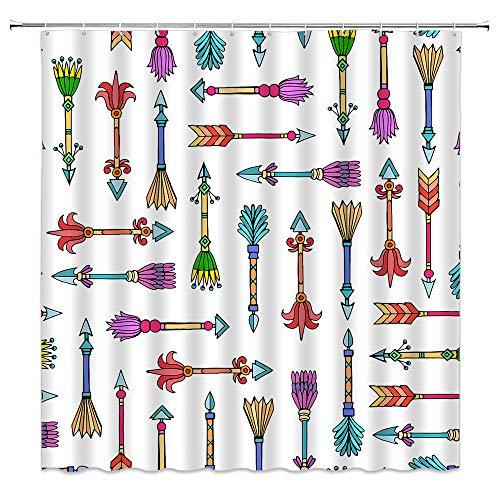 BCNEW Duschvorhang, Pfeile, bunt, handgezeichneter Kritzele-Stil, lustige Kunst mit Boho-Pfeilen, Polyester-Stoff, Badezimmer-Dekoration, 178 x 178 cm mit Hakenloch