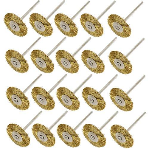 NIUPIKA Brass Wire Wheel Brush Polishing Wheels Abrasive Cup Brushes for Dremel Grinder Rotary Tools 2.35mm 20Pcs