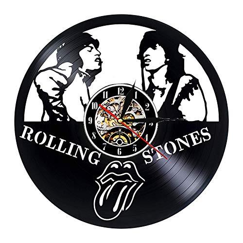XCJX Reloj de Pared de Disco de Vinilo Diseño Moderno Tema de la música Rolling Stones Band Reloj de Pared Reloj de Pared Vintage Decoración del hogar Mudo 30x30cm Sin luz Sin batería