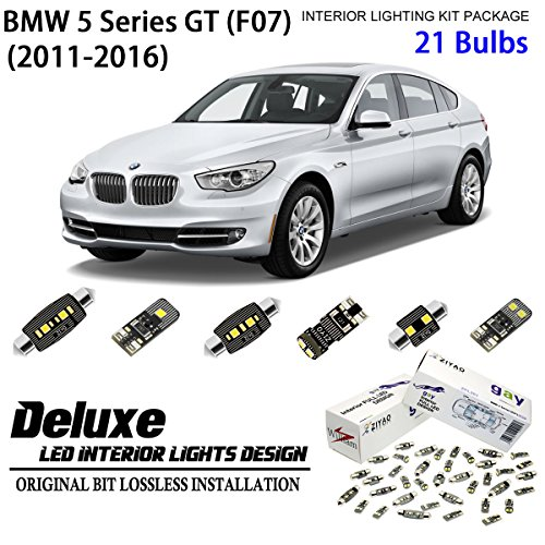 ZIYO ZPL2516 (21 Bulbs) Deluxe LED Interior Light Kit 6000K Xenon White Dome Light Bulbs Replacement for F07 2011-2016 BMW 5 Series GT (Gran Turismo)