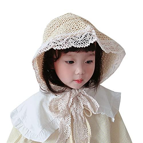 ZHANGYAN Sombrero de Paja Tejido a Mano para niños, Correas de Encaje, Gorro de Sol Grandes, Sombrero de Playa Plegable al Aire Libre, 1-8 años + (Color : Beige, Size : 48cm/18.8in)