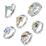 AILIN Personalized Mothers Ring with 1-6 Birthstones & Engraving 925 Sterling Silver Promise Rings for Mom Grandma Family Couple Ring Engagement Rings for Women Silver