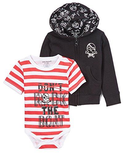 Rock the Boat bébé à capuche pour homme et garçon Combinaison Noir Rouge Blanc - Noir - 18 mois