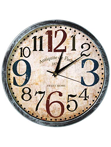 Story@home 12-inch Vintage Collection Round Shape Wall Clock with Glass for Home/Kitchen/Living Room/Bedroom (Beige and Turquoise)