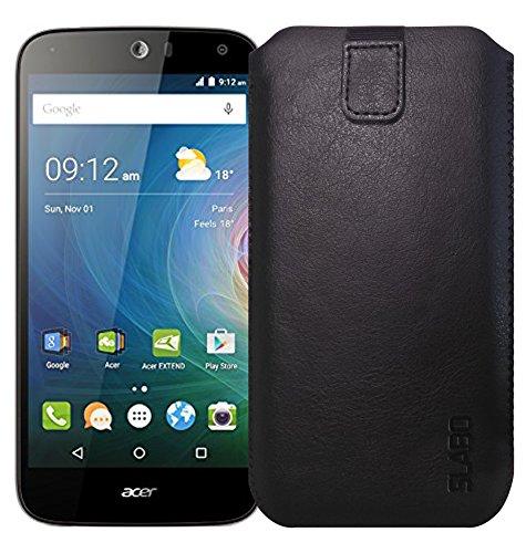 Slabo Schutzhülle für Acer Liquid Z630 | Acer Liquid Z630S Schutztasche Handyhülle Hülle mit Magnetverschluss aus Kunstleder - SCHWARZ | Black