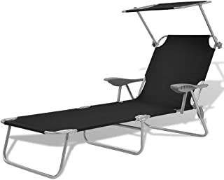 vidaXL Sun Lounger with Canopy Steel with Armrest Waterproof Outdoor Garden Patio Camping Beach Day Bed Black