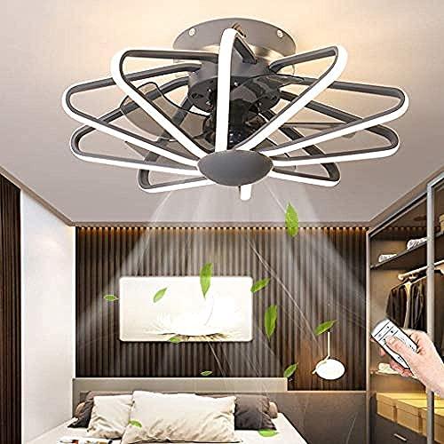 KLDDE Moderno Regulable Iluminación Led Ventilador de Techo Ventilador de Araña Silencioso Control Remoto Invisible Luz de Techo Regulable Ventilador de Dormitorio Luz de Techo (Color : Grey)