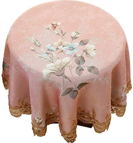 PHBSF Tischdecke Tischdecke Staubdichte Tischdecke Tischplattenschutz Dekorativ Für Küche, Zuhause, Esstisch, Party(Size:160cm Round,Color:Rosa)