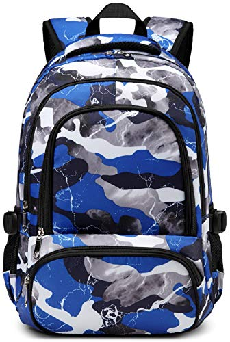 BLUEFAIRY Kids School Bags for Boys Camouflage Elementary School Backpacks Kindergarten Bookbags Lightweight Durable (Blue Camo)