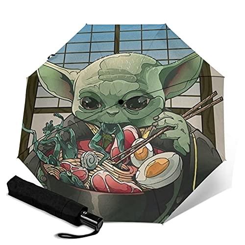 Baby Yoda Star Wars - Paraguas de viaje automático con mango para adultos y niños unisex