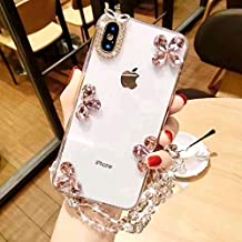 Huawei P10 Lite Diamond Case, Luxury Lady Gem Stone Leaf Design Rhinestone Stone Jewelled + Clear TPU Case for Huawei P10 Lite WAS-TL10 Come with Pearl Lanyard (Pink)