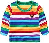 Moon Tree Toddle Boys Rainbow Striped Shirt Cotton Long Sleeve T-Shirts 3T