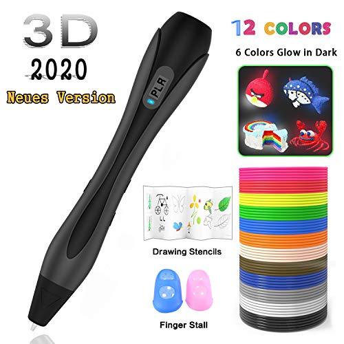 3D Stifte Set【Neueste Version 2020】Ein kompletter Satz von 12 Farben mit E-book,3D Pen Kompatibel mit PLA und ABS,3D stift Set für Kinder und Erwachsene kritzeleien, Malerei und kreatives Geschenk
