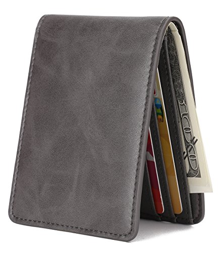 Mens Slim Front Pocket Wallet ID Window Card Case with RFID Blocking - Dark Gray
