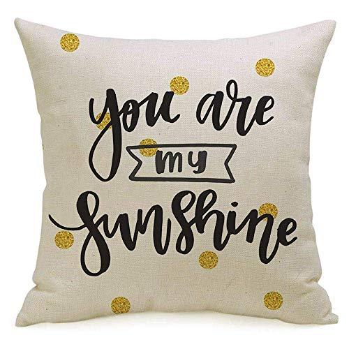 N\A Lino Decorativo Cuadrado Throw Pillow Cover Case Frase Banner Caligrafía Dibujada a Mano Farewell You My Emotion Sunshine Letras positivas Texturas Funda de Almohada Cojín Funda para sofá