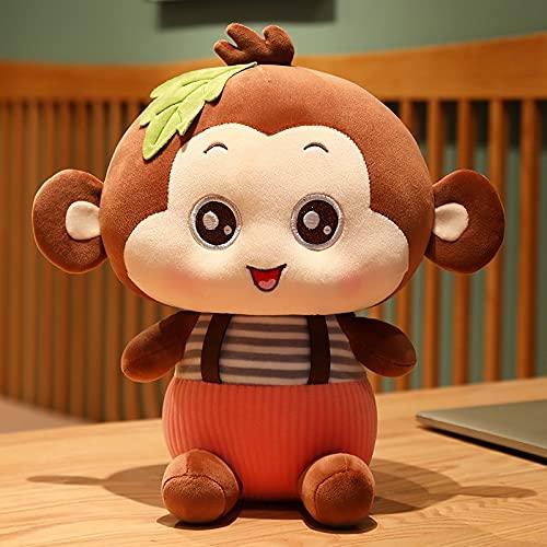 KCHUEAN Kawaii Seduta Scimmia Peluche Farcito Morbido Animale Scimmia con Vestiti Cuscino Bambole Huggable per Ragazze Regali di Compleanno per Bambini 35 Cm Marrone