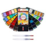 ARTSY Watercolor Paint Set — 56 Premium Colors with 3 Water Brushes in A Carrying Case — Double Foldable Watercolor Travel Set Perfect for Artists Adults Beginners Field Sketch Outdoor Painting