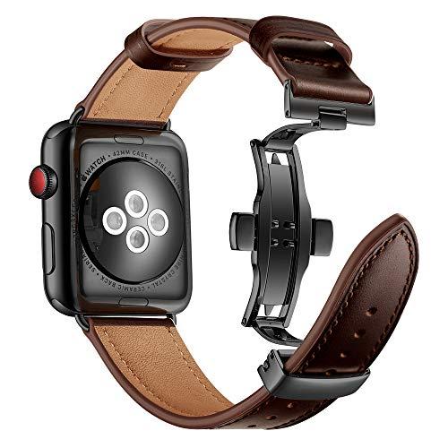 Myada Compatible para Apple Watch 42mm Correa Piel, Correas Apple Watch Series 4 44mm, Pulsera Apple Watch 4 Metal de con Cierre Magnético, Pulsera Reemplazo para iWatch Serie 1/2/3/4