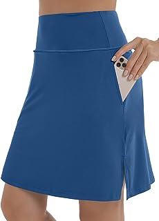 "XIEERDUO Women's 20"" Knee Length Tennis Skirts Athletic Golf Skorts with Inner Shorts"