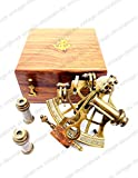 vintage-decoratives Sextante náutico de latón antiguo con caja de madera J. Scott latón sextante Astrolabe instrumentos