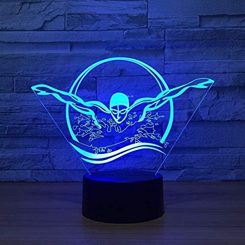 YOUPING Luz nocturna 3D luz de visión 3D 7 variantes de colores decorativo para niños (mariposa) A-153