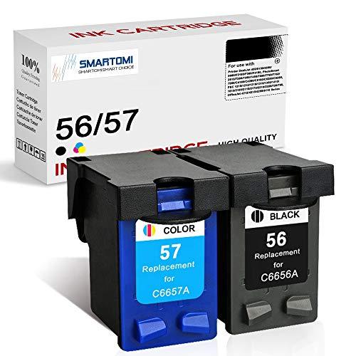 SMARTOMI 2er-Pack 56 57 Tintenpatronen remanufactured für HP 56 57 für Druckern der HP Printer DeskJet 450 5150 5550 9680 PhotoSmart 7260 7350 7450 7660 7760 7762 7960 PSC OfficeJet 4215 4255 6110