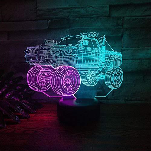 Wangzhongjie Colorido Led 3D Lámpara De Ilusión Óptica Tractor Luz Nocturna 7 Colores Lámpara De Escritorio De Mesa Táctil Para Decoración Del Dormitorio Del Hogar Juguetes De Regalo Para Niños